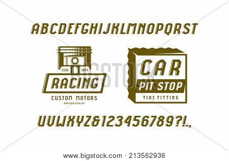 Decorative italic sans serif font in the sport style. Car races and service badges. Letters and numbers for logo and title design. Color print on white background