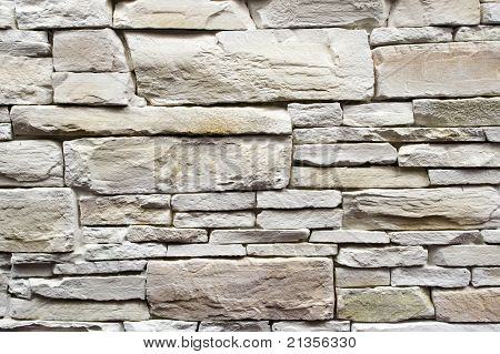 Decorative Wall Made From White Stone