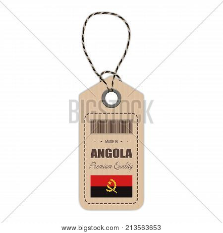 Hang Tag Made In Angola With Flag Icon Isolated On A White Background. Vector Illustration. Made In Badge. Business Concept. Buy products made in Angola. Use For Brochures, Printed Materials, Logos, Independence Day