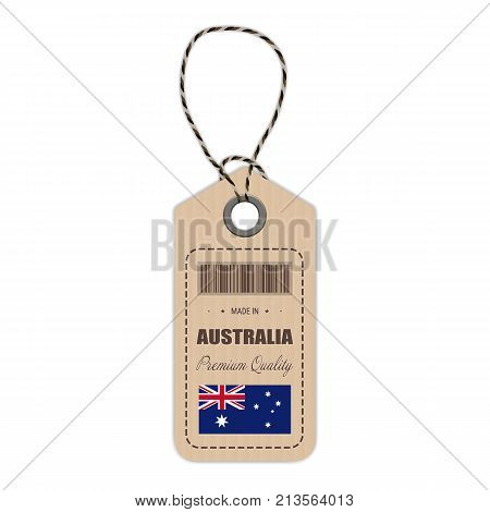 Hang Tag Made In Australia With Flag Icon Isolated On A White Background. Vector Illustration. Made In Badge. Business Concept. Buy products made in Australia. Use For Brochures, Printed Materials, Logos, Independence Day