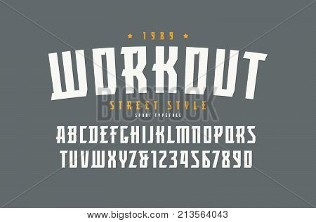 Serif font in the sport style. Letters and numbers for logo and title design. Print on gray background