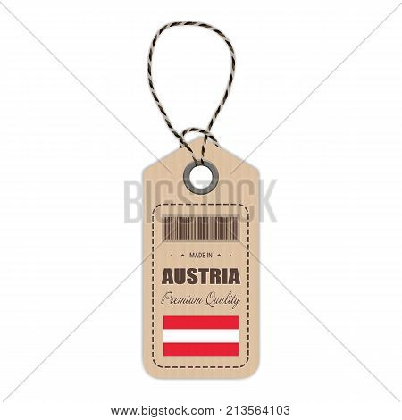 Hang Tag Made In Austria With Flag Icon Isolated On A White Background. Vector Illustration. Made In Badge. Business Concept. Buy products made in Austria. Use For Brochures, Printed Materials, Logos, Independence Day