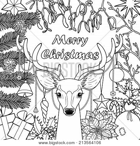 Merry Christmas deer with objects composition. Winter square new year black and white template for greeting cards, mock ups, coloring page and covers.