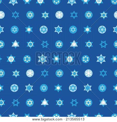 Jewish stars set seamless pattern. Star of David national Israel symbols. Judaism sign for textile, wallpaper, web page background. Vector illustration