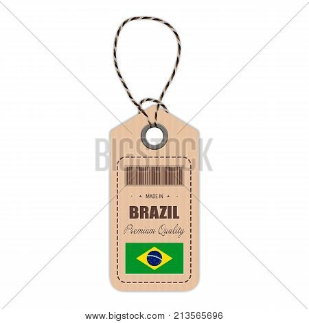 Hang Tag Made In Brazil With Flag Icon Isolated On A White Background. Vector Illustration. Made In Badge. Business Concept. Buy products made in Brazil. Use For Brochures, Printed Materials, Logos, Independence Day