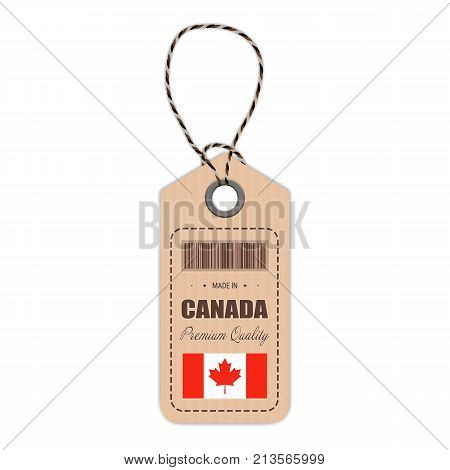 Hang Tag Made In Canada With Flag Icon Isolated On A White Background. Vector Illustration. Made In Badge. Business Concept. Buy products made in Canada. Use For Brochures, Printed Materials, Logos, Independence Day
