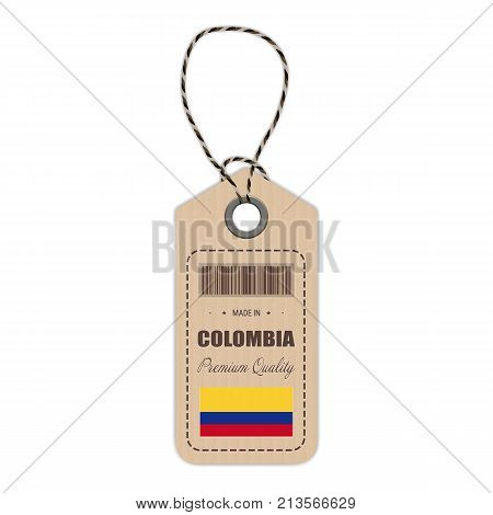 Hang Tag Made In Colombia With Flag Icon Isolated On A White Background. Vector Illustration. Made In Badge. Business Concept. Buy products made in Colombia. Use For Brochures, Printed Materials, Logos, Independence Day
