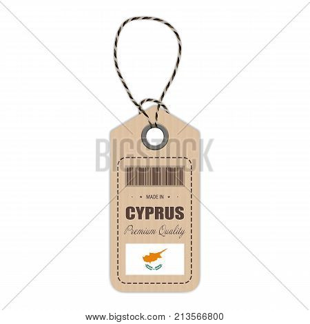 Hang Tag Made In Cyprus With Flag Icon Isolated On A White Background. Vector Illustration. Made In Badge. Business Concept. Buy products made in Cyprus. Use For Brochures, Printed Materials, Logos, Independence Day
