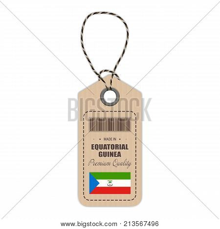 Hang Tag Made In Equatorial Guinea With Flag Icon Isolated On A White Background. Vector Illustration. Made In Badge. Business Concept. Buy products made in Equatorial Guinea. Use For Brochures, Printed Materials, Logos, Independence Day