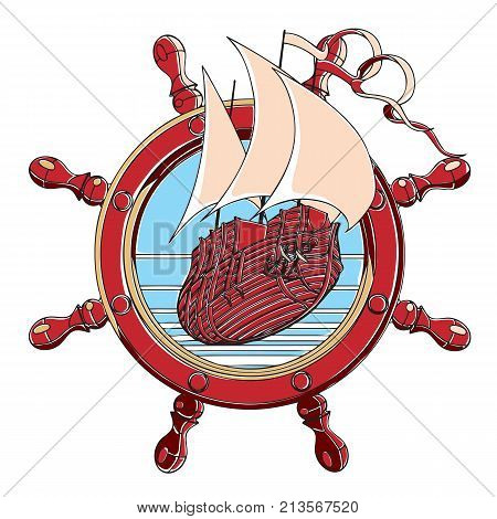 Vector badge with sail ship and steering wheel executed in retro print style with colors misregistration effect. Easily edit: file is divided into logical layers and groups. File doesn't contains gradients blends transparency and strokes or other special