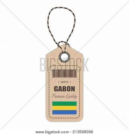 Hang Tag Made In Gabon With Flag Icon Isolated On A White Background. Vector Illustration. Made In Badge. Business Concept. Buy products made in Gabon. Use For Brochures, Printed Materials, Logos, Independence Day