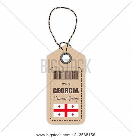 Hang Tag Made In Georgia With Flag Icon Isolated On A White Background. Vector Illustration. Made In Badge. Business Concept. Buy products made in Georgia. Use For Brochures, Printed Materials, Logos, Independence Day