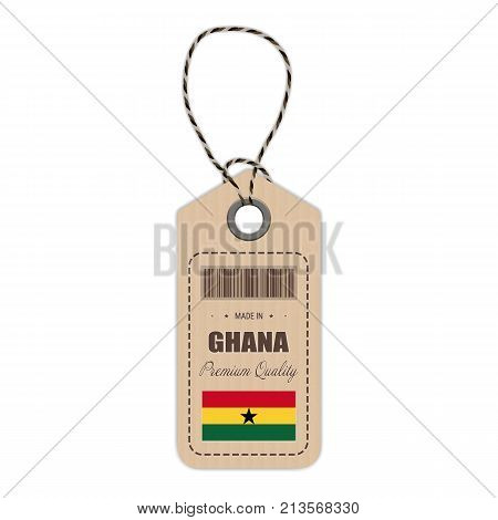 Hang Tag Made In Ghana With Flag Icon Isolated On A White Background. Vector Illustration. Made In Badge. Business Concept. Buy products made in Ghana. Use For Brochures, Printed Materials, Logos, Independence Day