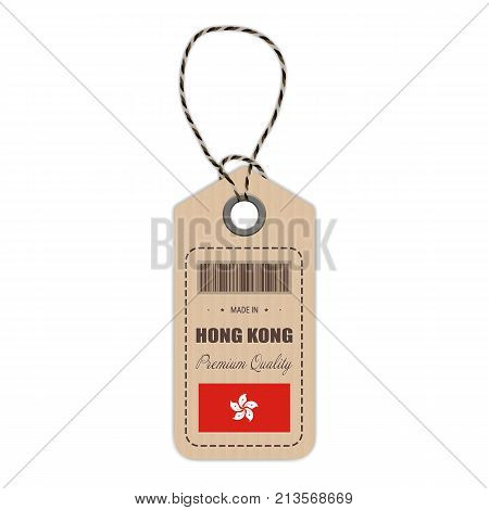 Hang Tag Made In Hong Kong With Flag Icon Isolated On A White Background. Vector Illustration. Made In Badge. Business Concept. Buy products made in Hong Kong. Use For Brochures, Printed Materials, Logos, Independence Day