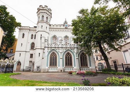 travel to Latvia - palace Old Town's Small Guild in Riga city in september. The building was built in 1864-66 years after the project by architect Johann Felsko poster
