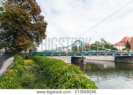 Tumski Bridge Over Oder River In Wroclaw City