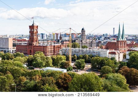 Berlin With Nikolaikirche And Rotes Rathaus