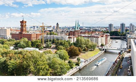 Spree River With Rathausbrucke In Berlin