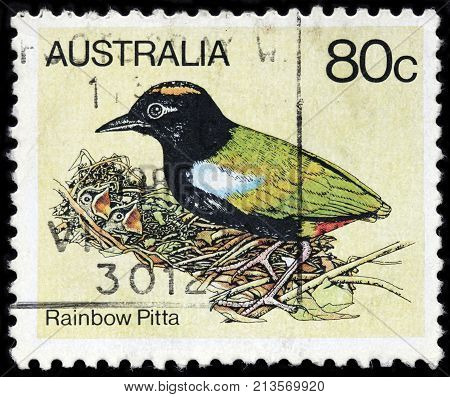 LUGA RUSSIA - AUGUST 20 2017: A stamp printed by AUSTRALIA shows Rainbow Pitta - small Australian endemic bird lives in the forests of northern Australia circa 1980