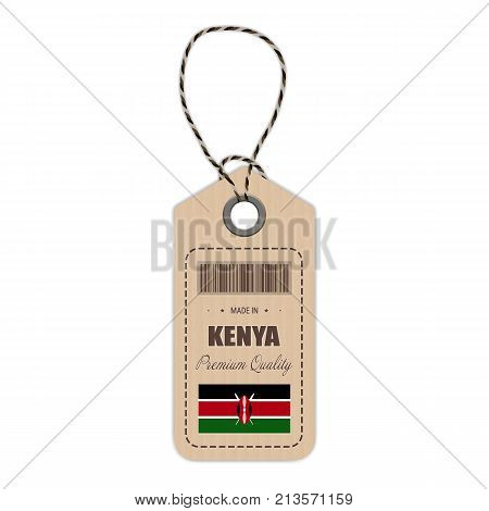 Hang Tag Made In Kenya With Flag Icon Isolated On A White Background. Vector Illustration. Made In Badge. Business Concept. Buy products made in Kenya. Use For Brochures, Printed Materials, Logos, Independence Day
