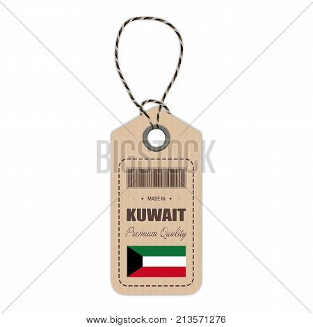 Hang Tag Made In Kuwait With Flag Icon Isolated On A White Background. Vector Illustration. Made In Badge. Business Concept. Buy products made in Kuwait. Use For Brochures, Printed Materials, Logos, Independence Day