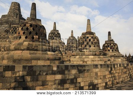 Ancient Temple of Borobudur. The island of Java. Yogyakarta. Indonesia.