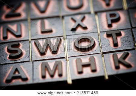 Rubber stamps creating the word swot.