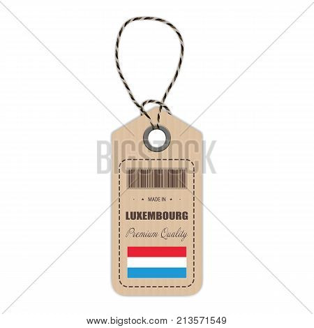 Hang Tag Made In Luxembourg With Flag Icon Isolated On A White Background. Vector Illustration. Made In Badge. Business Concept. Buy products made in Luxembourg. Use For Brochures, Printed Materials, Logos, Independence Day