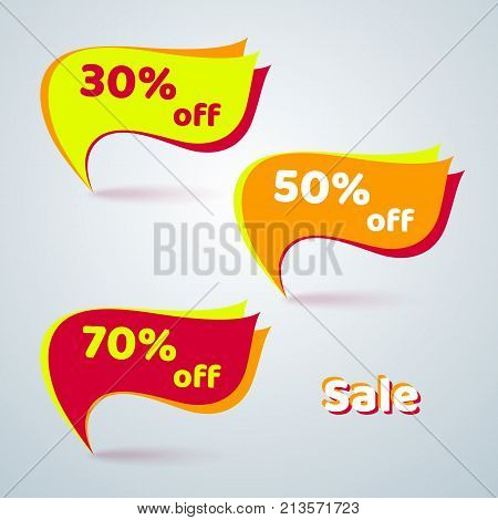 Bright Abstract Banner With Text Sale 30% 50% 70% Off For Advertising Set Vector