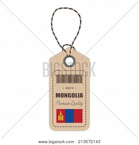 Hang Tag Made In Mongolia With Flag Icon Isolated On A White Background. Vector Illustration. Made In Badge. Business Concept. Buy products made in Mongolia. Use For Brochures, Printed Materials, Logos, Independence Day