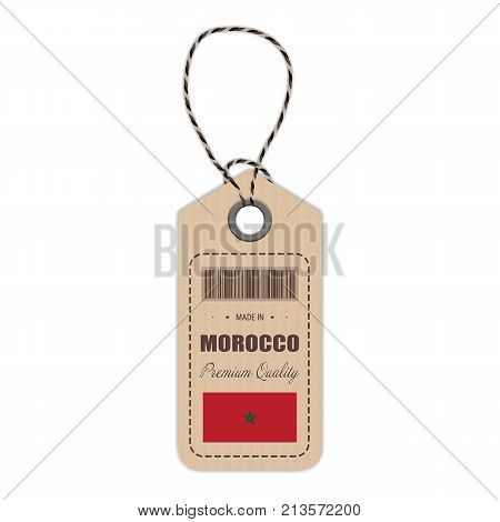 Hang Tag Made In Morocco With Flag Icon Isolated On A White Background. Vector Illustration. Made In Badge. Business Concept. Buy products made in Morocco. Use For Brochures, Printed Materials, Logos, Independence Day