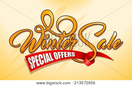 Orange caligraphic text Winter Sale with red ribbon on red background.