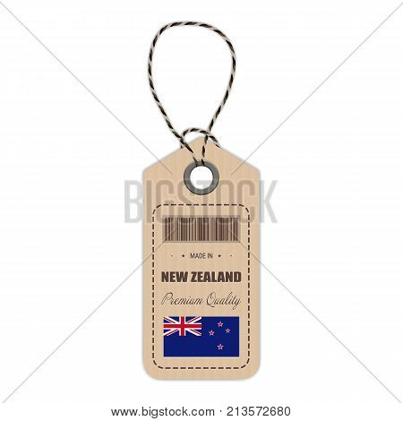Hang Tag Made In New Zealand With Flag Icon Isolated On A White Background. Vector Illustration. Made In Badge. Business Concept. Buy products made in New Zealand. Use For Brochures, Printed Materials, Logos, Independence Day