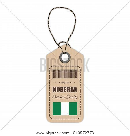 Hang Tag Made In Nigeria With Flag Icon Isolated On A White Background. Vector Illustration. Made In Badge. Business Concept. Buy products made in Nigeria. Use For Brochures, Printed Materials, Logos, Independence Day