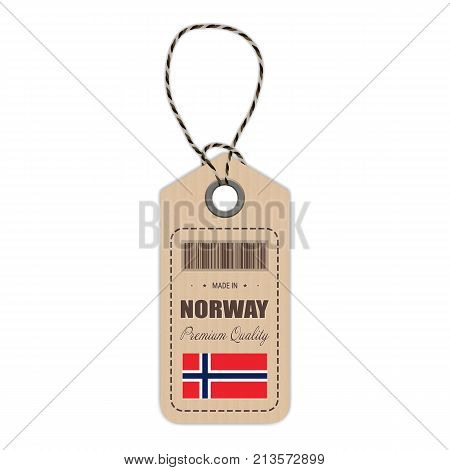 Hang Tag Made In Norway With Flag Icon Isolated On A White Background. Vector Illustration. Made In Badge. Business Concept. Buy products made in Norway. Use For Brochures, Printed Materials, Logos, Independence Day