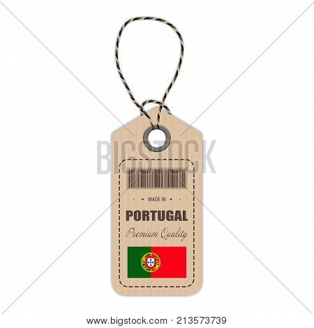 Hang Tag Made In Portugal With Flag Icon Isolated On A White Background. Vector Illustration. Made In Badge. Business Concept. Buy products made in Portugal. Use For Brochures, Printed Materials, Logos, Independence Day