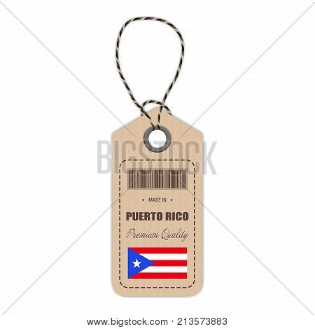 Hang Tag Made In Puerto Rico With Flag Icon Isolated On A White Background. Vector Illustration. Made In Badge. Business Concept. Buy products made in Puerto Rico. Use For Brochures, Printed Materials, Logos, Independence Day