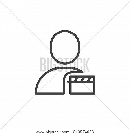 User movie line icon, outline vector sign, linear style pictogram isolated on white. Man and clapper symbol, logo illustration. Editable stroke