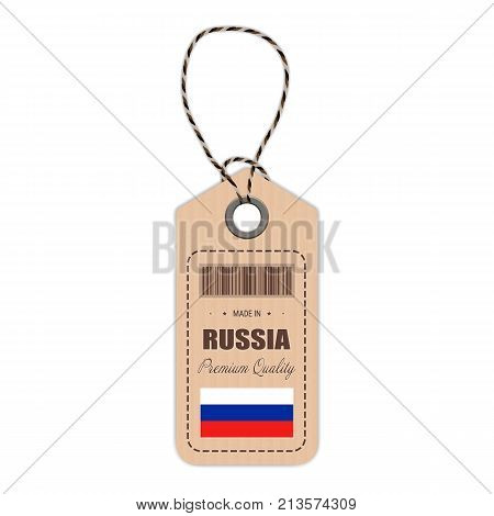 Hang Tag Made In Russia With Flag Icon Isolated On A White Background. Vector Illustration. Made In Badge. Business Concept. Buy products made in Russia. Use For Brochures, Printed Materials, Logos, Independence Day