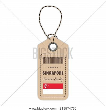 Hang Tag Made In Singapore With Flag Icon Isolated On A White Background. Vector Illustration. Made In Badge. Business Concept. Buy products made in Singapore. Use For Brochures, Printed Materials, Logos, Independence Day