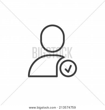 Confirm user line icon, outline vector sign, linear style pictogram isolated on white. Account verify symbol, logo illustration. Editable stroke