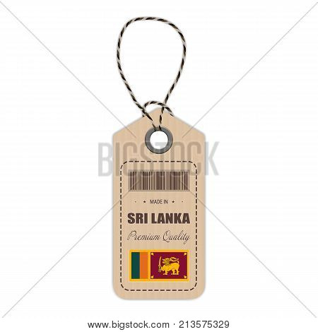 Hang Tag Made In Sri Lanka With Flag Icon Isolated On A White Background. Vector Illustration. Made In Badge. Business Concept. Buy products made in Sri Lanka. Use For Brochures, Printed Materials, Logos, Independence Day