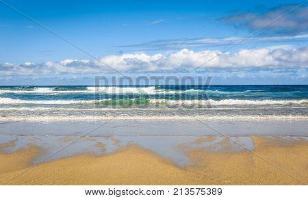 Tropical Sandy Beach And Sea Of Atlantic Ocean In Spain.