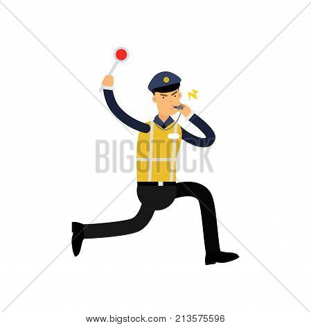 Traffic control officer running, whistling and showing stop gesture by handheld police signal. Policeman character in uniform with high visibility vest. Public security guard. Flat vector illustration