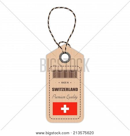 Hang Tag Made In Switzerland With Flag Icon Isolated On A White Background. Vector Illustration. Made In Badge. Business Concept. Buy products made in Switzerland. Use For Brochures, Printed Materials, Logos, Independence Day