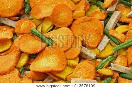 Background Of Dried Vegetables With Carrot Bean