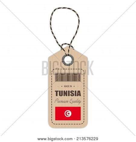 Hang Tag Made In Tunisia With Flag Icon Isolated On A White Background. Vector Illustration. Made In Badge. Business Concept. Buy products made in Tunisia. Use For Brochures, Printed Materials, Logos, Independence Day