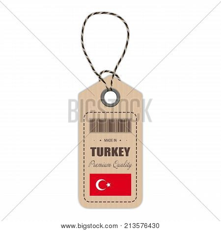 Hang Tag Made In Turkey With Flag Icon Isolated On A White Background. Vector Illustration. Made In Badge. Business Concept. Buy products made in Turkey. Use For Brochures, Printed Materials, Logos, Independence Day