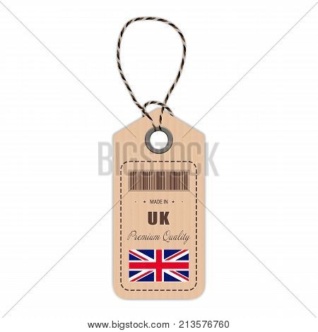 Hang Tag Made In United Kingdom With Flag Icon Isolated On A White Background. Vector Illustration. Made In Badge. Business Concept. Buy products made in United Kingdom. Use For Brochures, Printed Materials, Logos, Independence Day