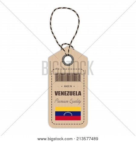 Hang Tag Made In Venezuela With Flag Icon Isolated On A White Background. Vector Illustration. Made In Badge. Business Concept. Buy products made in Venezuela. Use For Brochures, Printed Materials, Logos, Independence Day
